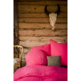 Housse de couette Madisson en lin Rose Fluo- 140x200cm-Bed and Philosophy