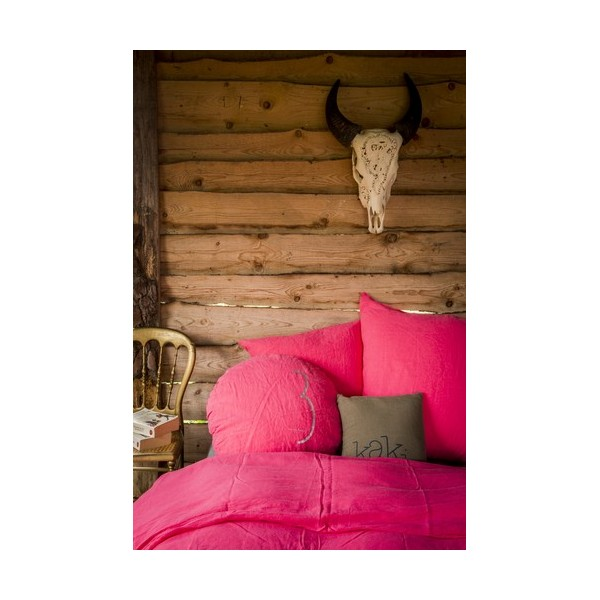 linge de lit fluo Housse de couette en lin rose fluo de Bed and Philosophy linge de lit fluo