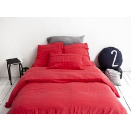 Housse de couette Madisson en lin Rouge- 140x200cm-Bed and Philosophy