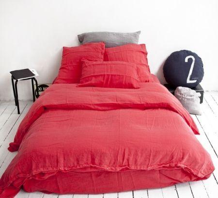 Taie d'oreiller Queens en lin Rouge - 50x70cm -Bed and Philosophy