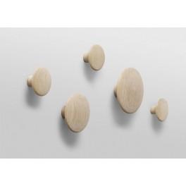Patère bois The Dots - set de 5 - chêne naturel - Muuto