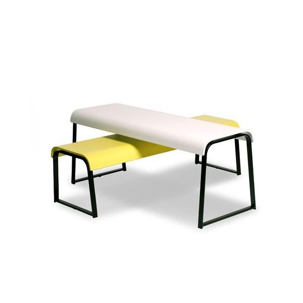 banc manu 17 en bois et m tal noir de mangan se editions. Black Bedroom Furniture Sets. Home Design Ideas