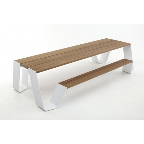 Table de jardin en bois bancs design hopper extremis for Table exterieur avec banc integre